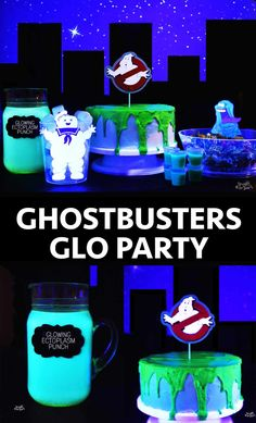 Ghostbusters Glo Party ⋆ Sprinkle Some Fun Ghostbusters Theme, Ghostbusters Birthday Party, 5th Birthday Party Ideas, Birthday Party Decorations, Boy Birthday, Movie Party, Party Time, Blacklight Party, Glow Party