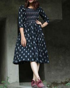 Black and white hand woven ikat dress by Threeness Plain Kurti Designs, Simple Kurti Designs, Kurta Designs Women, Indian Long Frocks, Dotti Dresses, Frock Fashion, Fashion Dresses, Women's Fashion, Maxi Skirt Outfits