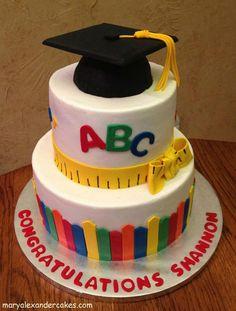 Kindergarten teacher theme cake. From Mary Alexander Cakes in Dallas Texas www.maryalexandercakes.com