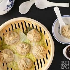 Start your next Asian-inspired dinner with a batch of steamed soup dumplings. Just on bite will convince you that this unique from-scratch kitchen project is worth the effort! Bhg Recipes, Asian Recipes, Soup Recipes, Cooking Recipes, Healthy Recipes, Ethnic Recipes, Asian Foods, Chinese Recipes, Veggie Recipes