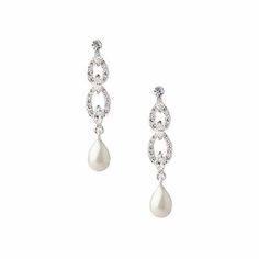 The Holly Crystal and Pearl Link Drop Pierced Earrings