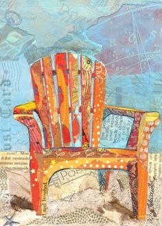 Beach Chairs Torn Paper Paintings Notecards by weDesigns on Etsy, $12.00