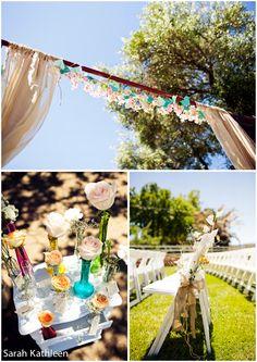Central Coast Wedding venue, Santa Margarita Ranch Wedding. full lace back wedding dress gorgeous! Burlap and baby's breath flowers