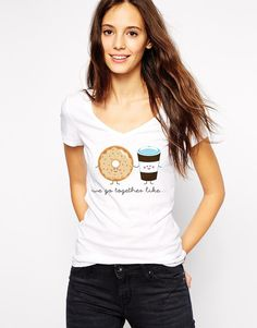 Donut Shirt - We Go Together Like Donuts and Coffee - Vneck Tshirt - Funny T Shirt - Doughnut Coffee - Couples Shirt - Valentine T-Shirt by Umbuh