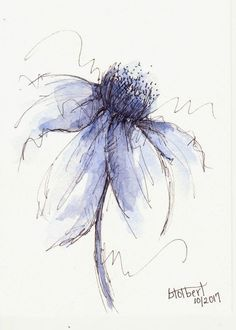 Original Watercolor Cone Flower Art Painting Blue Pen and Ink