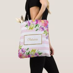 #Chic Floral Watercolor Pink and White Stripes Tote Bag - #bridesmaid gifts #bridal bride wedding marriage