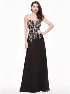A-Line/Princess Sweetheart Floor-Length Chiffon Evening Dress With Beading and Sequins