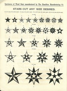 Decorative stars by The Hamilton Manufacturing Company (wood type), Two Rivers, Wisconsin