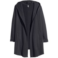 H&M Hooded cardigan ($46) ❤ liked on Polyvore featuring tops, cardigans, jackets, outerwear, coats, black, h&m cardigan, black top, black hooded cardigan and black cardigan