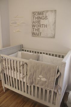 """""""Worth the Wait"""" Wall Decor - such a simple, chic look in this gender neutral nursery!"""