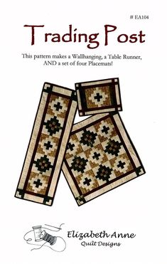 Trading PostSouthwest Quilt Pattern for a Table Runner Set | Etsy Southwest Quilts, Place Mats Quilted, Fabric Postcards, Make A Table, Trading Post, Tablerunners, Quilted Wall Hangings, Southwestern Style, Step By Step Instructions