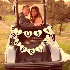 Just Married golf cart Golf Wedding, Wedding Prep, Wedding Car Decorations, Wedding Photo Inspiration, Golf Carts, Just Married, Event Planning, Wedding Photos, Wedding Ideas