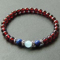 Garnet Aquamarine Lapis Sterling Silver Bracelet Mens Women DIY-KAREN 622