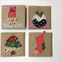 Ideas sewing christmas cards xmas for 2019 Christmas Sewing, Christmas Fabric, Handmade Christmas, Christmas Crafts, Christmas Bunting, Christmas Postcards, Christmas Trees, Freehand Machine Embroidery, Free Motion Embroidery