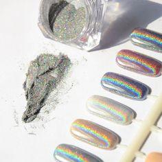 1g Laser Silver Holographic Nails Glitters Powder DIY Nail Art Sequins Chrome Pigment Dust Shiny Magic Laser Mirror Powder Nails