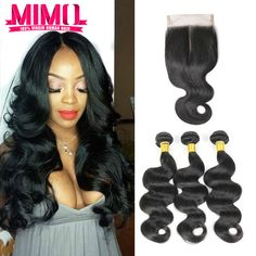Brazilian Virgin Hair  With closure Human Hair 3 Bundles With Closure Brazilian Body Wave With Closure Hair Bundles With Closure ** Click the VISIT button to find out more