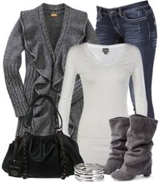 Gray ruffled sweater...cozy winter outfit.