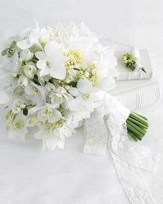 White Wedding Bouquet and Boutonniere