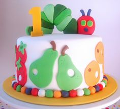 Eric Carle Cake! Very Hungry Caterpillar! #very_hungry_caterpillar #Carle #caterpillar #cake #party