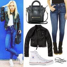 "Jordyn Jones posted an instagram photo today wearing an Abercrombie & Fitch Carley Cropped Moto Jacket ($99.00), Bethany Mota for Aeropostale High-Rise Dark Wash Jeggings (sold out) — buy a similar style for $29.70, Converse Chuck Taylor All Star Core Hi Sneakers ($55.00) in ""Optical White,"" and a black leather Celine Micro Luggage Handbag (3,200.00 – not available online)."