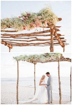 This ridiculously gorgeous couple took their marriage vows at the St. Regis, in Punta Mita, on the beach under a beautiful light pink rose and baby's breath covered arbor from GRO Designs.  {Floral design: GRO Designs // Photography   Caroline Ross Photography  // Click to see more of this dreamy Punta Mita beach wedding in mexico.}
