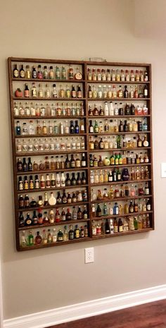 efficient dorm room organization decor ideas 24 ⋆ Home & Garden Design Bar Sala, Garderobe Design, Mini Liquor Bottles, Home Bar Designs, Bottle Display, Dorm Room Organization, Jewelry Organization, Displaying Collections, Bars For Home