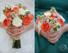 Love the coral wedding bouquet and matching nails. used for the bridesmaids Coral Flower Bouquets, Teal Wedding Flowers, Coral Wedding Decorations, Coral Wedding Themes, Coral Roses, White Wedding Bouquets, Wedding Flower Arrangements, Bridal Flowers, Flower Bouquet Wedding