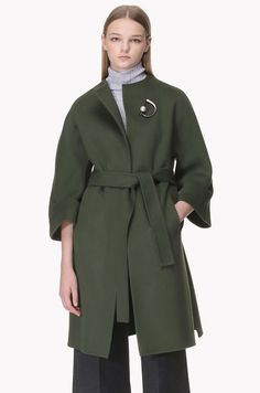 Collarless lambs wool cashmere blend handmade open coat