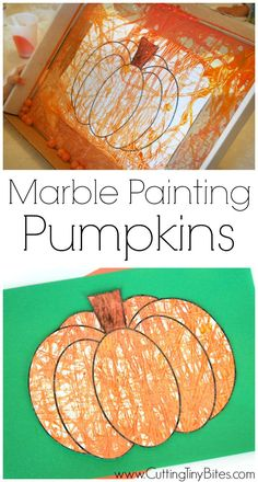 Fall or Halloween process art craft project for kids. Marble painting pumpkins…