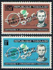 Togo #473 - 474 Stamps - Abraham Lincoln Stamps Overprinted JFK - AF TG 473 to 474-2
