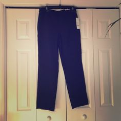 Navy Blue Straight Leg Dress pants These navy blue dress pants have an elastic waist and a comfy fit. They are a size medium and purchased from Kohls. They have never been worn and still have all the tags on. Pants Straight Leg