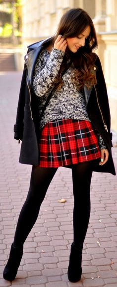 If Words Aren't Enough. by Monilefashion | I like the black tights + black shoes combo with a bright tartan skirt