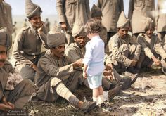 A French boy introduces himself to Indian soldiers in Marseilles, France in the beginning months of the first World War. Colorized by Marina Amaral World War One, First World, Ferdinand, Photoshop, Old Pictures, Old Photos, Black N White Images, Black And White, French Boys