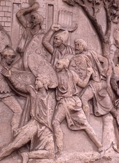 Trajan's Column, Dacians with long tunics, hats and falces Roman Sculpture, Modern Sculpture, Lion Sculpture, Trajan's Column, Arch Of Constantine, Hellenistic Period, Germanic Tribes, Roman History, Ancient Artifacts