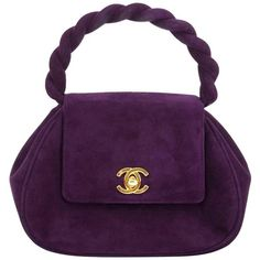 Preowned Chanel Vintage Purple Suede Mini Evening Bag ($2,317) ❤ liked on Polyvore featuring bags, handbags, purple, top handle bags, mini purse, mini handbags, top handle handbags, vintage purses and party purses
