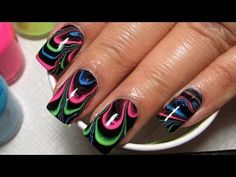 Black & Neon Water Marble Nail Art Tutorial (Water Marble March 2014 #3) - My Simple Little Pleasures