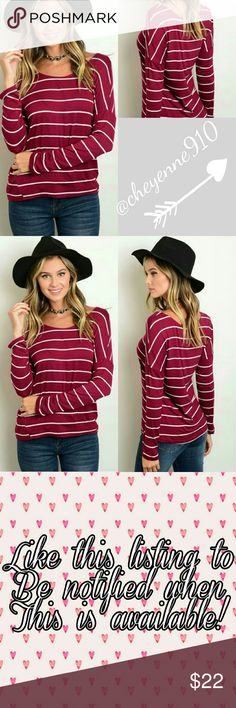"Long Sleeve Striped Top So cute basic top with beautiful fall colors! In burgundy with ivory stripes, this loose fitted jersey top features long sleeves and scoop neck! Made of rayon and spandex.  Measurements layingg flat: Length from shoulder down Bust (armpit to armpit)  Small  Length 23 1/2"" Bust 18 1/2"" (stretches to 23 1/2)  Medium  Length 24 1_2"" Bust 19 1/2"" (stretches to 24 1/2)  Large  Length 25 1/2"" Bust 20 1/2"" (stretches to 25 1/2"") Tops Tees - Long Sleeve"