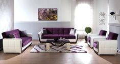 Plum Colored Living Room Furniture Wonderful Purple and White Modern Living Room Sets with Grey Living Room Furniture, Living Room Decor Purple, Modern White Living Room, Purple Furniture, Cute Living Room, Living Room Images, Living Room Grey, Living Room Sets, Living Room Designs