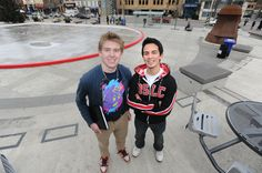 KCI students Jack Meyer (left) and Andrew Clubine are organizing a student rally to be held at Waterloo Public Square on Monday.