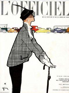 1950 Cover illustration of Jacques Fath ensemble by René Gruau, L'Officiel