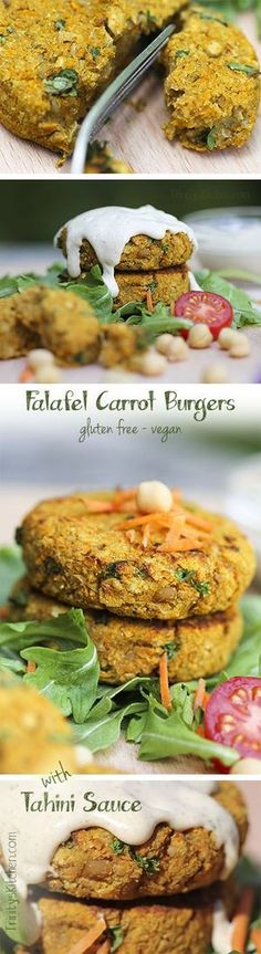 Falafel Carrot Burgers with Tahini Sauce #glutenfree #vegan #healthy