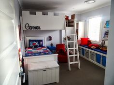 Materials: Ikea loft bed and some MDF Description: Cut off the legs of a double loft bed and the ladder. Got some MDF boards cut to go on the runs Ikea Loft, Ikea Kura Bed, Loft Spaces, Kid Spaces, Storage Spaces, Storage Ideas, Ikea Hacks, Siblings Sharing Bedroom, Double Loft Beds