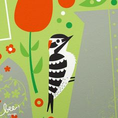 garden woodpecker limited edition print by beethings on Etsy, $25.00