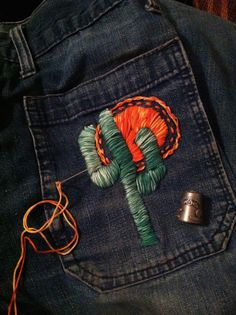 cactus embroidery. Easy diy to amp up any of your denim! ~ Fashion diy from squashblossomvintage