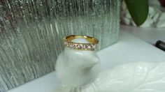 Yellow gold diamond band by David Klass Jewelry.