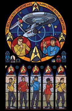 Stained glass style Star Trek TOS fanart by marissagarner Affiche Star Trek, Star Trek Poster, Star Trek 1, Star Trek Ships, Star Trek Characters, Star Trek Original Series, Fanart, Starship Enterprise, Star Trek Universe