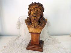 Antique religious statue Jesus Christ bust sculpture plaster figurine w wooden base signed OLOT, 1900s christian devotional art church decor