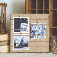 This DIY burlap memo board is a simple, easy way to display precious memories and inspirational photos.