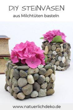 Milk Bags Upcycling: Make a vase with stonesTinker great vases with natural materials easily: That& how it& done. DIY milk cartons, dairy bags upcycling, making teapots, making milk ca. Grands Pots, Fleurs Diy, Bagged Milk, Flower Vases, Diy Flowers, Natural Materials, Christmas Diy, Tea Pots, Diy Crafts