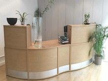 An impressive used reception desk which has never been used. In pristine condition. Used Office Chairs, Used Office Furniture, Used Chairs, Office Desk, Used Reception Desk, Reception Areas, Office Storage, Cabinet, Home Decor
